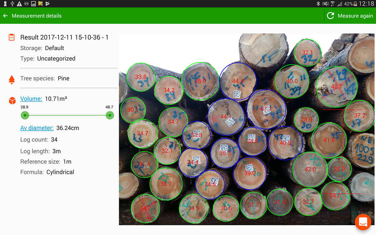 In addition to diameters, now Timbeter detects QR Codes – Perfect solution for those exporting logs in containers!