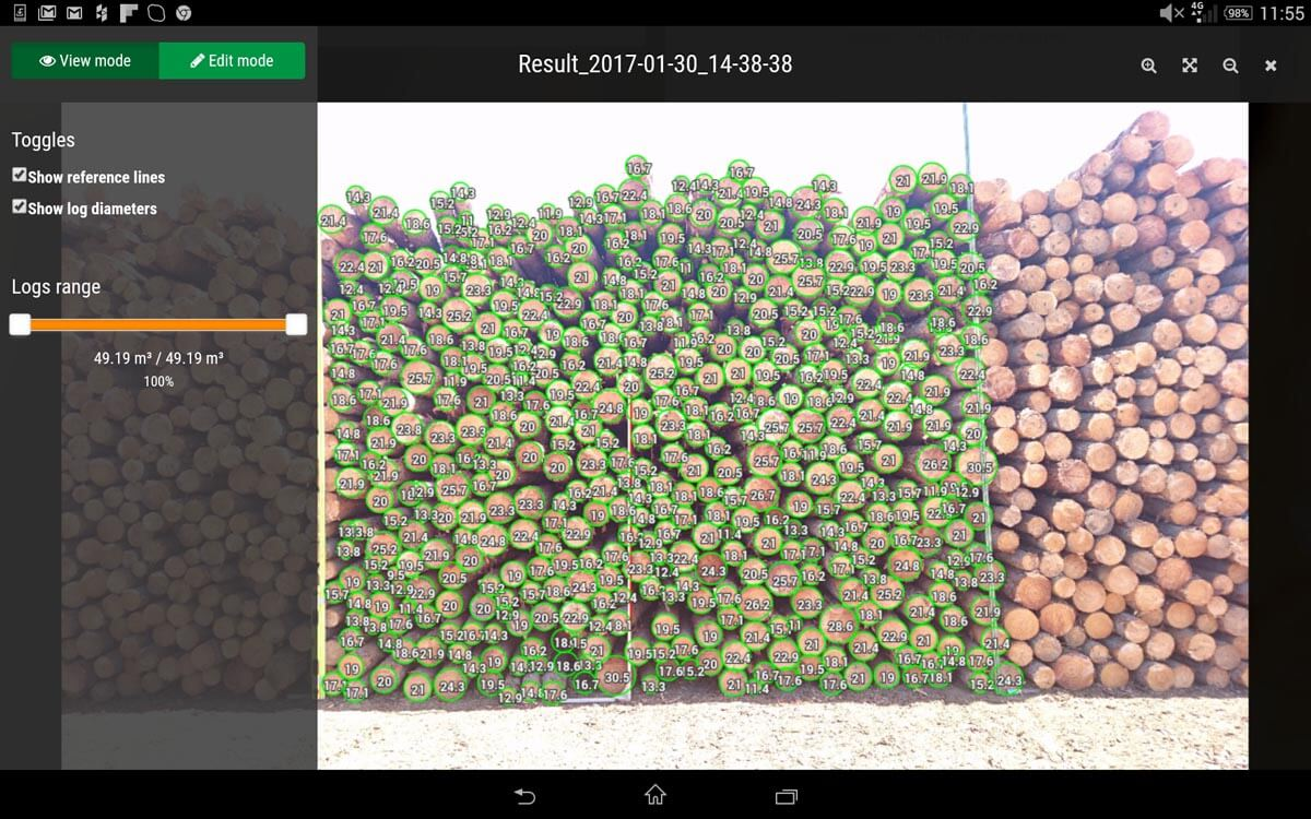 Big pile log counting and diameters